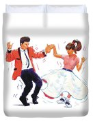 Rock And Roll Dancers Duvet Cover