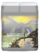 Rock Fishing At Wombarra  Duvet Cover