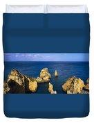 Rock Formations In The Sea, Algarve Duvet Cover