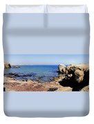 Rock Formations On The Beach, Marcona Duvet Cover