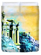 Rock Hewn Monastery Ad-deir Duvet Cover by Catf