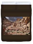 rock landscape with simple tombs in Petra Duvet Cover