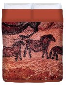 Rock Painting Of Tarpans Ponies, C.17000 Bc Cave Painting Duvet Cover