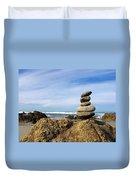 Rock Sculpture At The Beach Duvet Cover