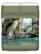 Rock Wall And River Duvet Cover