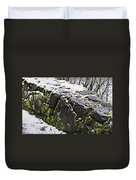 Rock Wall With Moss And A Dusting Of Snow Art Prints Duvet Cover