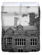 Rockefeller Hall - Bryn Mawr In Black And White Duvet Cover