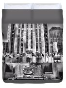 Rockefeller Center Black And White Duvet Cover