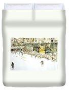 Rockefeller Center Skaters Duvet Cover