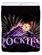 Rockies And Fireworks Duvet Cover by Bob Hislop