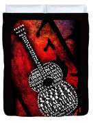 Rockin Guitar In Red Typography Duvet Cover