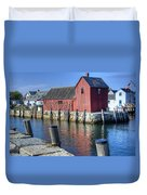 Rockport Fishing Village Duvet Cover