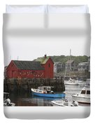 Rockport Inner Harbor With Lobster Fleet And Motif No.1 Duvet Cover