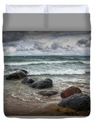 Rocks And Waves At Wilderness Park In Sturgeon Bay Duvet Cover
