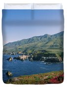 Rocks In The Sea, Carmel, California Duvet Cover