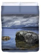 Rocks In The Water On A Lake In Acadia National Park Duvet Cover
