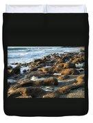 Rocky Beach At Sunrise Duvet Cover