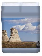 Rocky Buttes Protrude From The Middle Of Arizona Landscape Duvet Cover