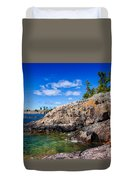Rocky Coast And Clear Water Of Lake Superior Duvet Cover