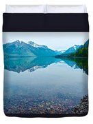 Rocky Mountain And Rocky Bottom Reflection In Lake Mcdonald In Glacier National Park-montana Duvet Cover