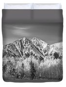 Rocky Mountain Autumn High In Black And White Duvet Cover