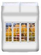 Rocky Mountain Autumn Ranch White Window View Duvet Cover