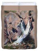 Rocky Mountain Cascade Duvet Cover by Mary Benke
