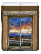 Rocky Mountain Country Beams Of Sunlight Rustic Window Frame Duvet Cover