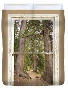 Rocky Mountain Forest Window View Duvet Cover