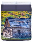 Rocky Mountain Rural Rustic Cabin Autumn View Duvet Cover