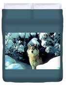 Rocky Mountain Wolf Duvet Cover
