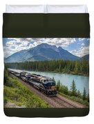 Rocky Mountaineer At Muleshoe On The Bow River Duvet Cover by Steve Boyko