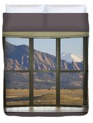 Rocky Mountains Flatirons With Snow Longs Peak Bay Window View Duvet Cover
