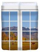 Rocky Mountains Horses White Window Frame View Duvet Cover