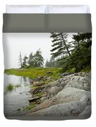 Rocky Shore By The Narrows To Mount Desert Island Duvet Cover