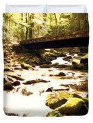 Rocky Stream With Bridge Duvet Cover