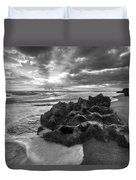 Rocky Surf In Black And White Duvet Cover