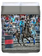Rodeo Cowgirl Duvet Cover by Gary Keesler