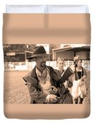 Rodeo Gunslinger With Saloon Girls Sepia Duvet Cover