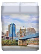 Roebling Bridge And Downtown Cincinnati 9850 Duvet Cover