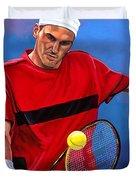 Roger Federer The Swiss Maestro Duvet Cover