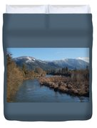 Rogue River And Mt Baldy In Winter Duvet Cover