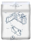 Roll Film Camera Patent From 1952- Blue Ink Duvet Cover