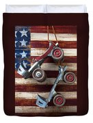 Rollar Skates With Wooden Flag Duvet Cover