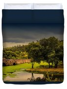 Roman Bridge By The Lake Duvet Cover