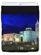 Roman Forum And St Donatus Church At Night Zadar Croatia Duvet Cover