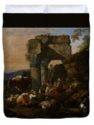 Roman Landscape With Cattle And Shepherds Duvet Cover by Johann Heinrich Roos