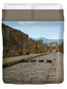 Roman Street In Pompeii Duvet Cover