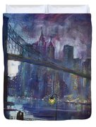 Romance By East River Nyc Duvet Cover