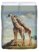 Romance In Africa - Love Among Giraffes Duvet Cover